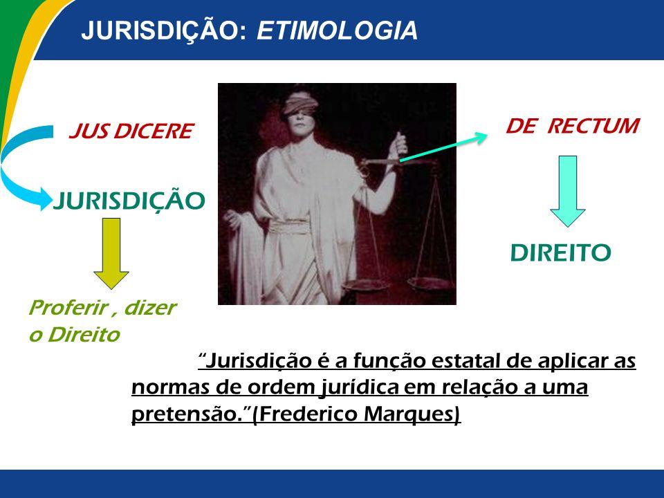 JURISDIÇÃO: ETIMOLOGIA JUS DICERE JURISDIÇÃO Proferir, dizer o Direito DE RECTUM Jurisdição é a função estatal de aplicar as normas de ordem jurídica