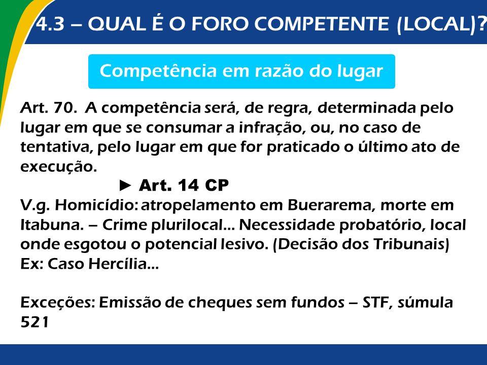4.3 – QUAL É O FORO COMPETENTE (LOCAL )? Competência em razão do lugar Art. 70. A competência será, de regra, determinada pelo lugar em que se consuma