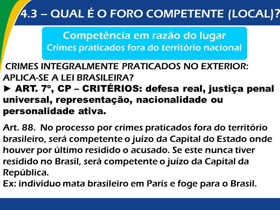 Competência em razão do lugar Crimes praticados fora do território nacional Art. 88. No processo por crimes praticados fora do território brasileiro,