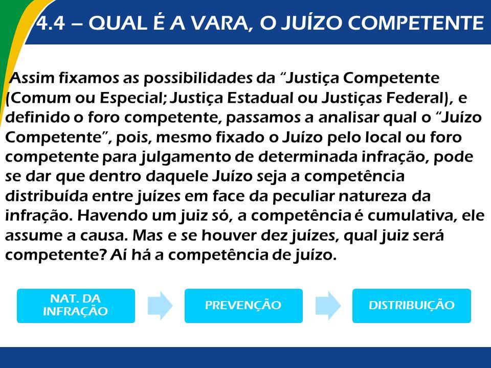 4.4 – QUAL É A VARA, O JUÍZO COMPETENTE Assim fixamos as possibilidades da Justiça Competente (Comum ou Especial; Justiça Estadual ou Justiças Federal