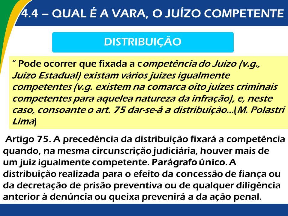 4.4 – QUAL É A VARA, O JUÍZO COMPETENTE DISTRIBUIÇÃO Artigo 75. A precedência da distribuição fixará a competência quando, na mesma circunscrição judi