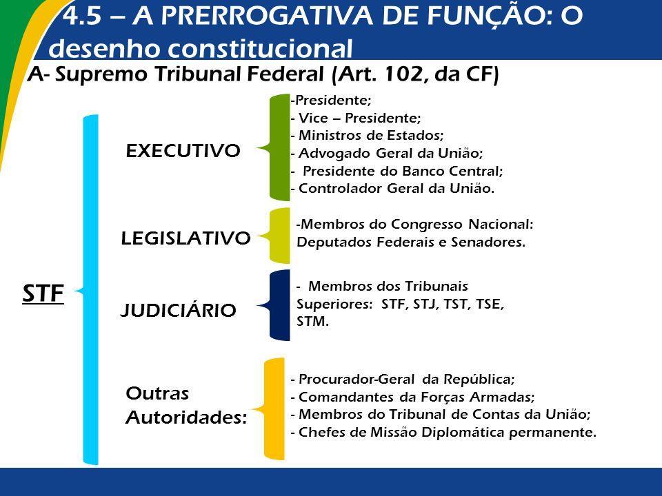 4.5 – A PRERROGATIVA DE FUNÇÃO: O desenho constitucional A- Supremo Tribunal Federal (Art. 102, da CF) EXECUTIVO -Presidente; - Vice – Presidente; - M