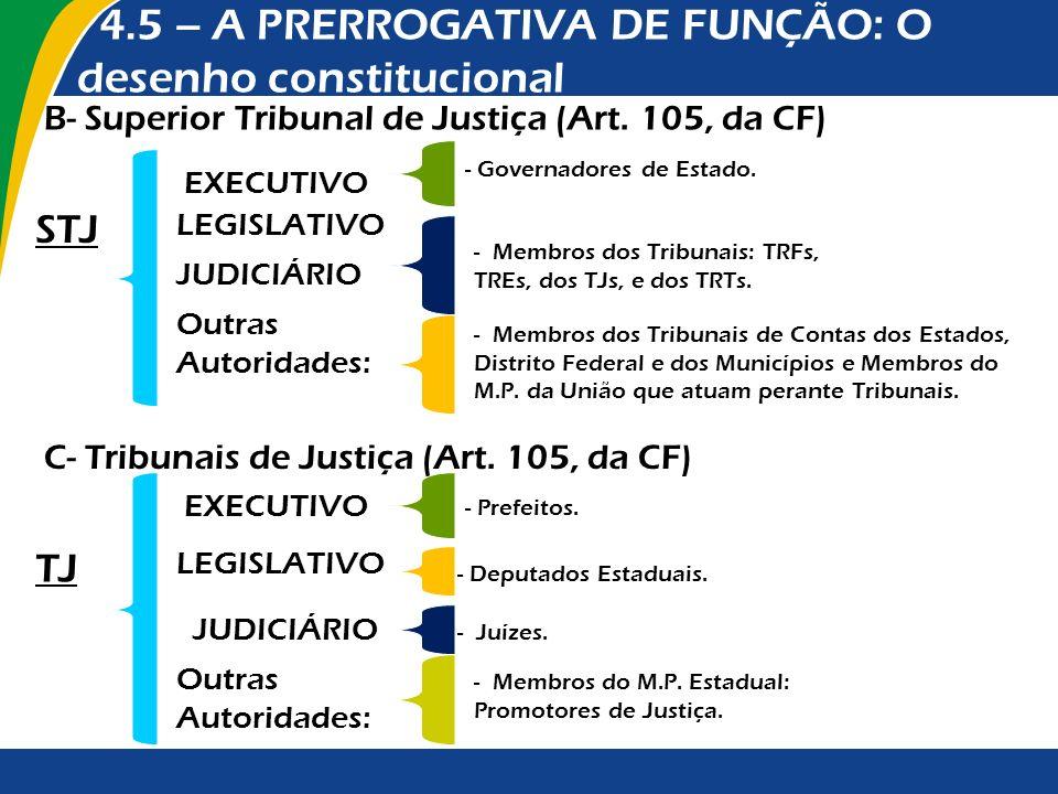 B- Superior Tribunal de Justiça (Art. 105, da CF) EXECUTIVO - Governadores de Estado. LEGISLATIVO STJ JUDICIÁRIO - Membros dos Tribunais: TRFs, TREs,
