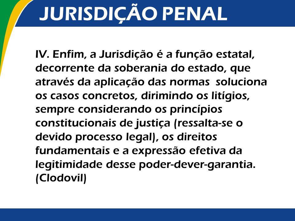 IV. Enfim, a Jurisdição é a função estatal, decorrente da soberania do estado, que através da aplicação das normas soluciona os casos concretos, dirim