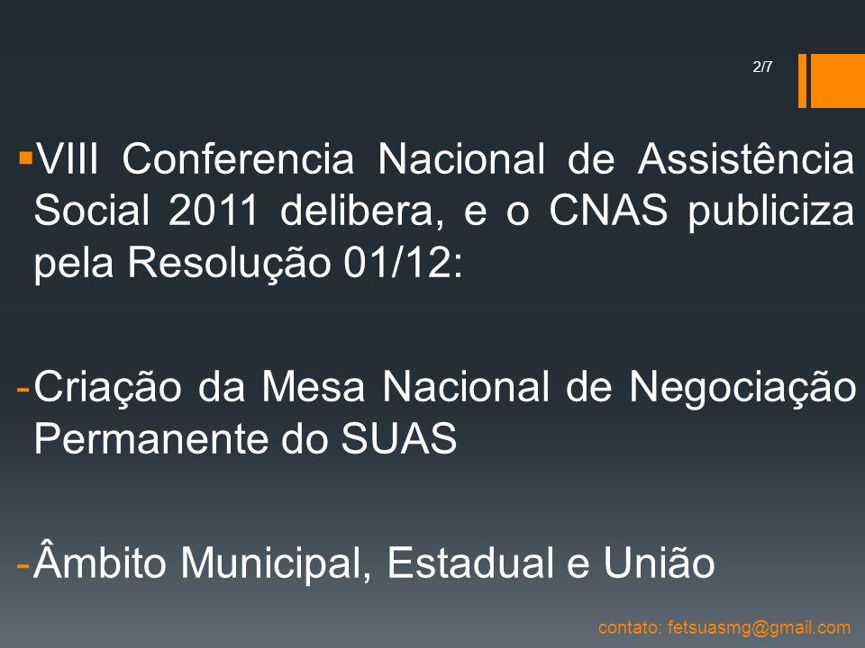 VIII Conferencia Nacional de Assistência Social 2011 delibera, e o CNAS publiciza pela Resolução 01/12: -Criação da Mesa Nacional de Negociação Perman
