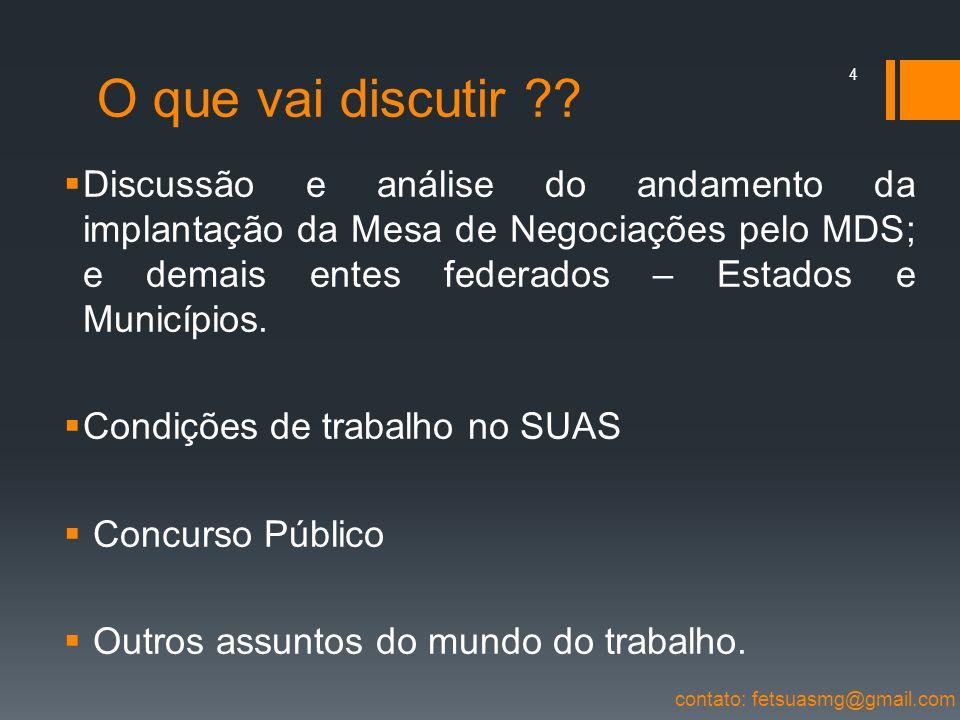 O que vai discutir ?? Discussão e análise do andamento da implantação da Mesa de Negociações pelo MDS; e demais entes federados – Estados e Municípios