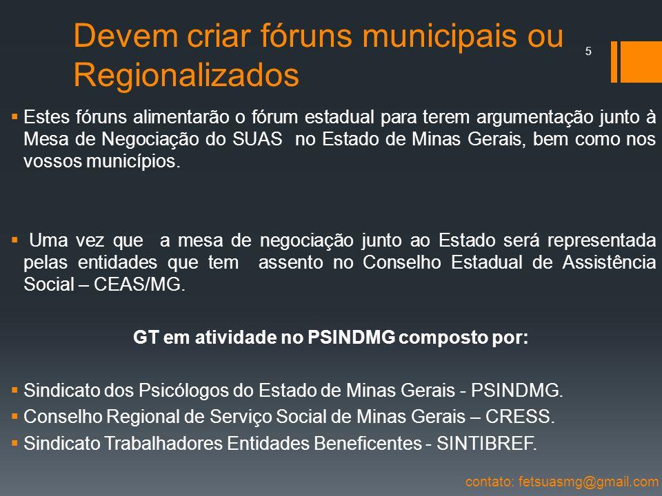 Devem criar fóruns municipais ou Regionalizados Estes fóruns alimentarão o fórum estadual para terem argumentação junto à Mesa de Negociação do SUAS n