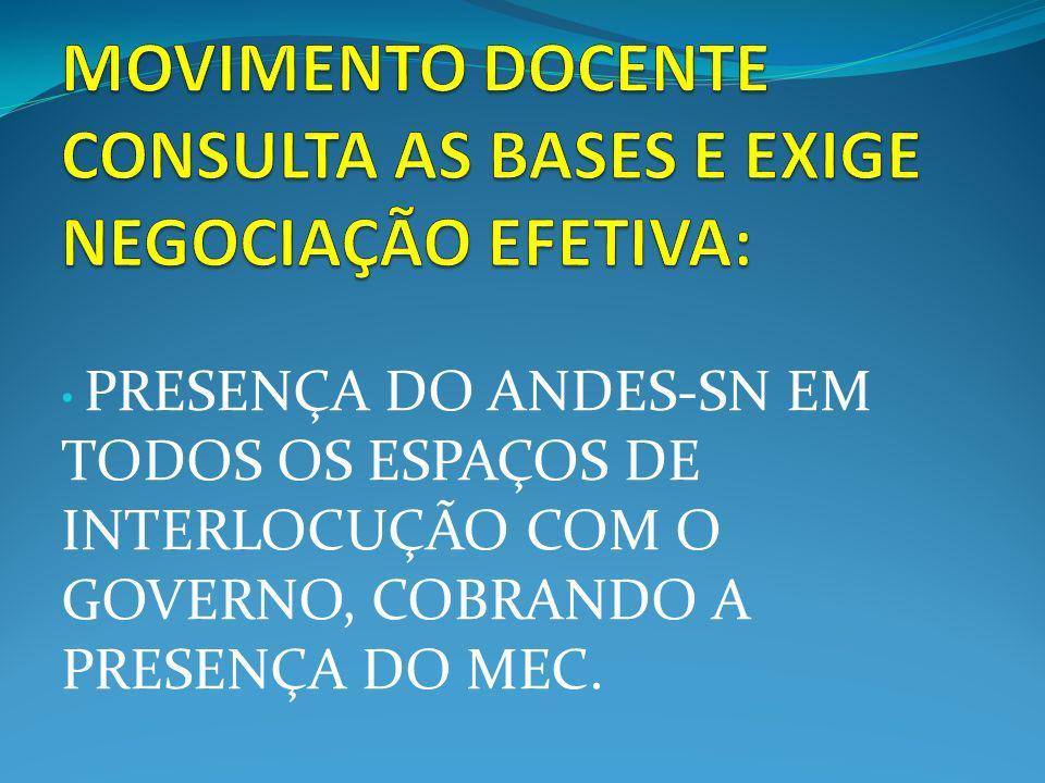 PRESENÇA DO ANDES-SN EM TODOS OS ESPAÇOS DE INTERLOCUÇÃO COM O GOVERNO, COBRANDO A PRESENÇA DO MEC.