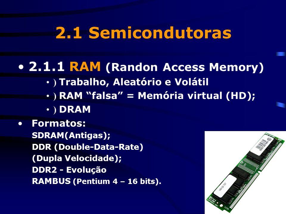 2. Memórias –) Semicondutoras (chips); –) Magnéticas; –) Ópticas.