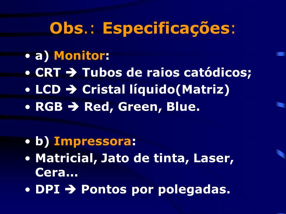 3. Dispositivos de entrada e saída (i/o) 3.1 Entrada: Teclado, mouse, touch pad, webcam, microfone,... 3.2 Saída: Monitor de vídeo, impressora, plotte