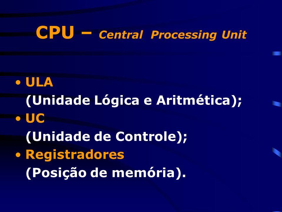 CPU – Central Processing Unit ULA (Unidade Lógica e Aritmética); UC (Unidade de Controle); Registradores (Posição de memória).