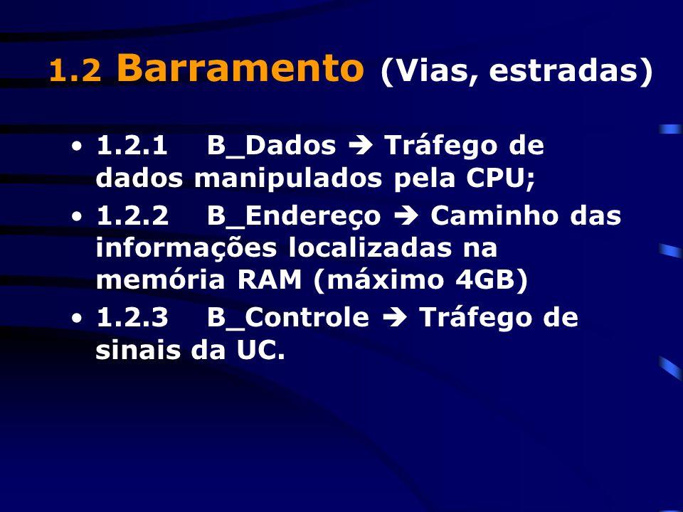 1.2.1B_Dados Tráfego de dados manipulados pela CPU; 1.2.2B_Endereço Caminho das informações localizadas na memória RAM (máximo 4GB) 1.2.3B_Controle Tráfego de sinais da UC.