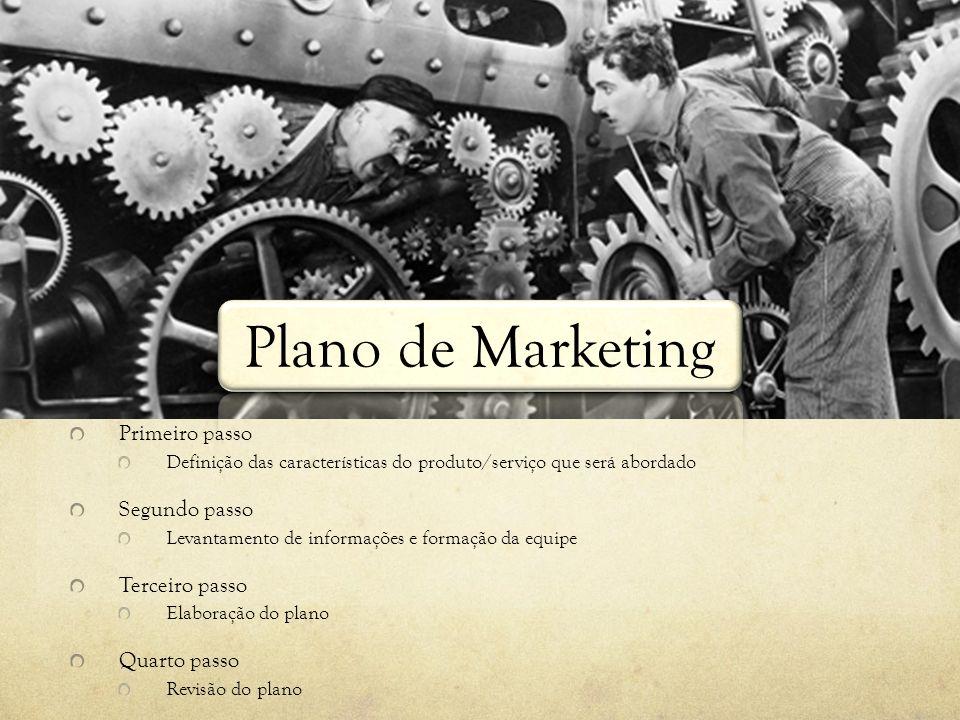 Plano de Marketing Primeiro passo Definição das características do produto/serviço que será abordado Segundo passo Levantamento de informações e forma