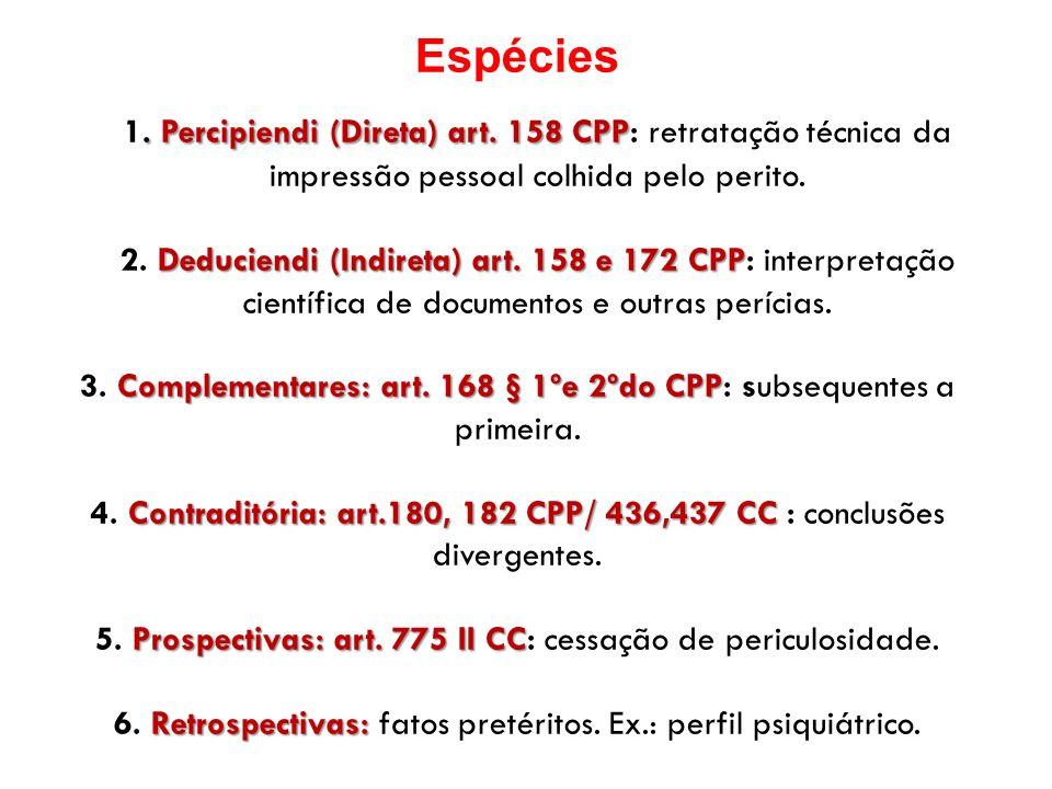 Espécies. Percipiendi (Direta) art. 158 CPP 1. Percipiendi (Direta) art. 158 CPP: retratação técnica da impressão pessoal colhida pelo perito. Deducie