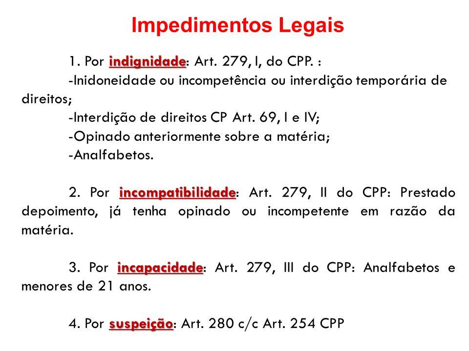 Impedimentos Legais indignidade 1. Por indignidade: Art. 279, I, do CPP. : -Inidoneidade ou incompetência ou interdição temporária de direitos; -Inter