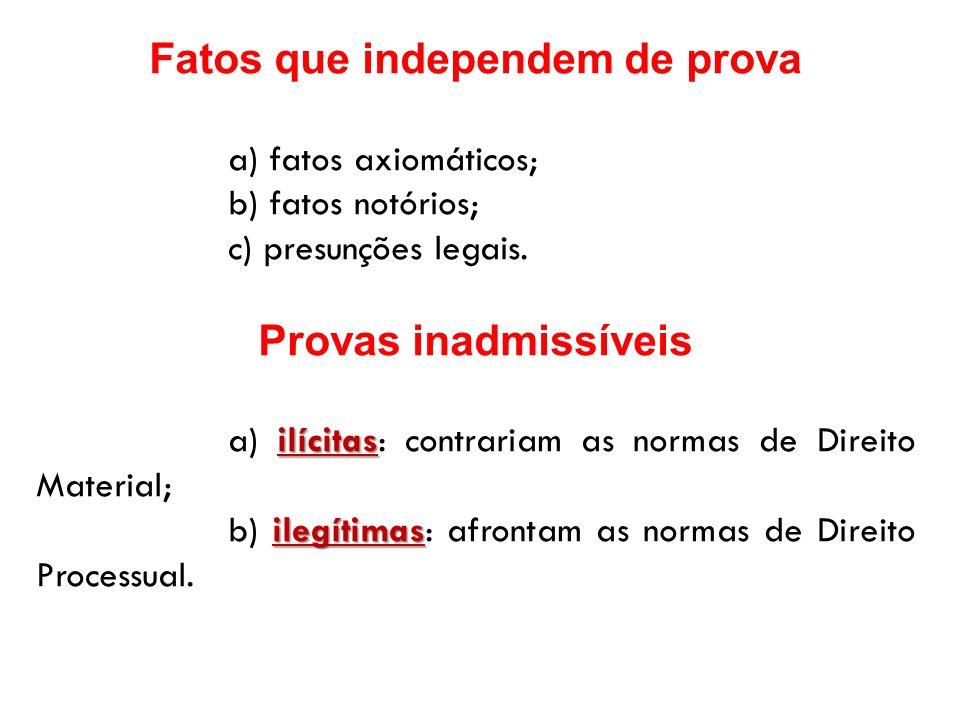 Fatos que independem de prova a) fatos axiomáticos; b) fatos notórios; c) presunções legais. Provas inadmissíveis ilícitas a) ilícitas: contrariam as