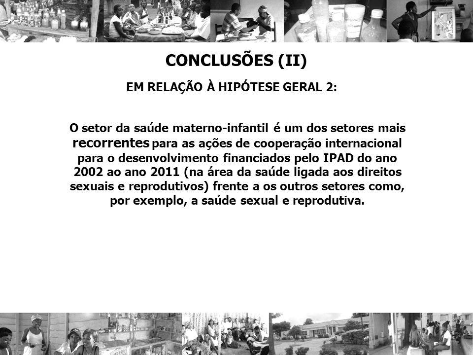 CONCLUSÕES (II) EM RELAÇÃO À HIPÓTESE GERAL 2: O setor da saúde materno-infantil é um dos setores mais recorrentes para as ações de cooperação interna