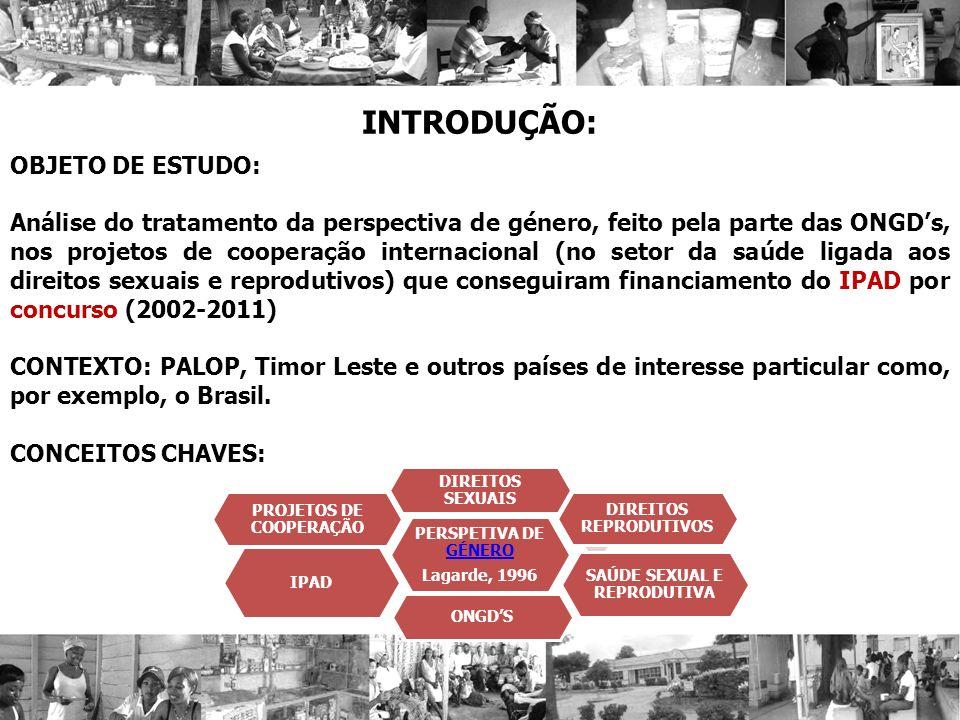 INTRODUÇÃO: OBJETO DE ESTUDO: Análise do tratamento da perspectiva de género, feito pela parte das ONGDs, nos projetos de cooperação internacional (no