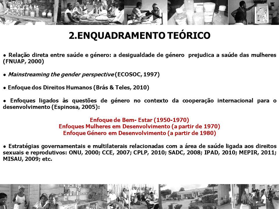 2.ENQUADRAMENTO TEÓRICO Relação direta entre saúde e género: a desigualdade de género prejudica a saúde das mulheres (FNUAP, 2000) Mainstreaming the g