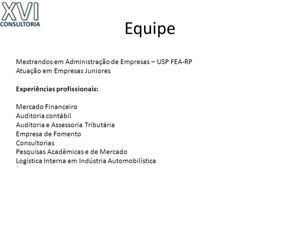 Equipe Mestrandos em Administração de Empresas – USP FEA-RP Atuação em Empresas Juniores Experiências profissionais: Mercado Financeiro Auditoria cont
