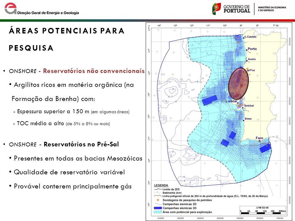 ONSHORE - Reservatórios não convencionais Argilitos ricos em matéria orgânica (na Formação da Brenha) com: - Espessura superior a 150 m (em algumas ár