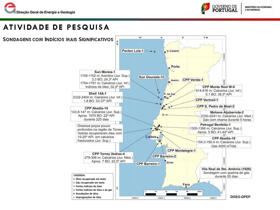 8 ATIVIDADE DE PESQUISA S ONDAGENS O FFSHORE Apenas 27 sondagens realizadas no offshore - 4 sondagens no deep offshore: Lula -1 (218 m) Imperador -1 (371 m) Algarve -1 (536 m) Algarve -2 (540 m) -16 sondagens com indícios de óleo e/ou gas 2 destas com óleo em testes de produção