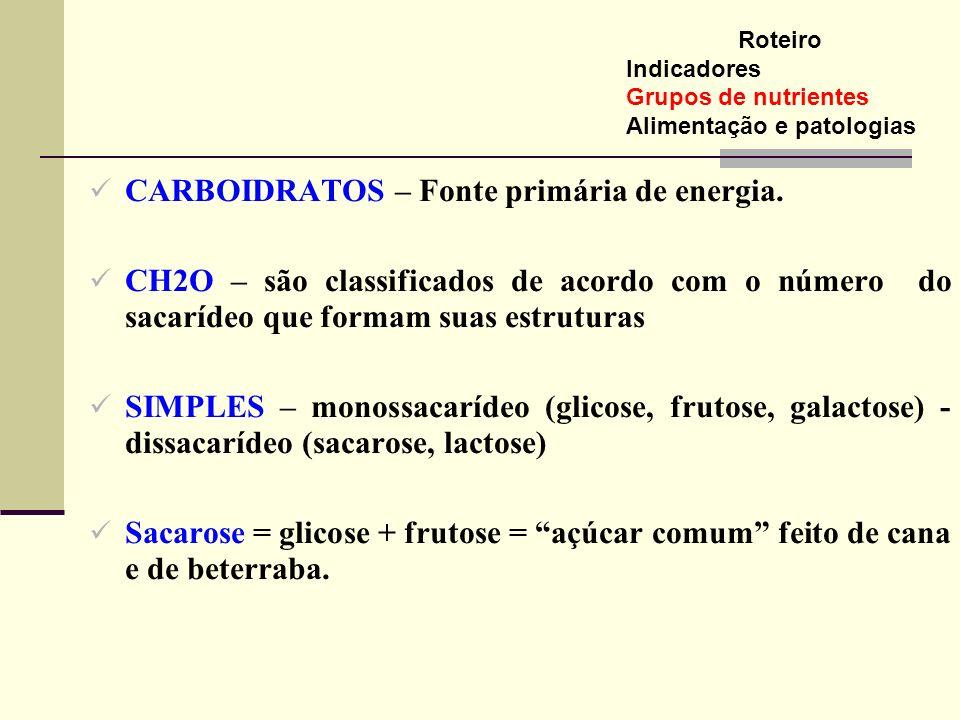CARBOIDRATOS – Fonte primária de energia. CH2O – são classificados de acordo com o número do sacarídeo que formam suas estruturas SIMPLES – monossacar