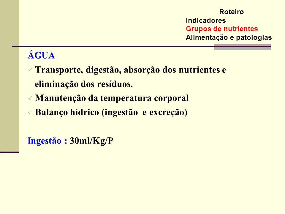 ÁGUA Transporte, digestão, absorção dos nutrientes e eliminação dos resíduos. Manutenção da temperatura corporal Balanço hídrico (ingestão e excreção)