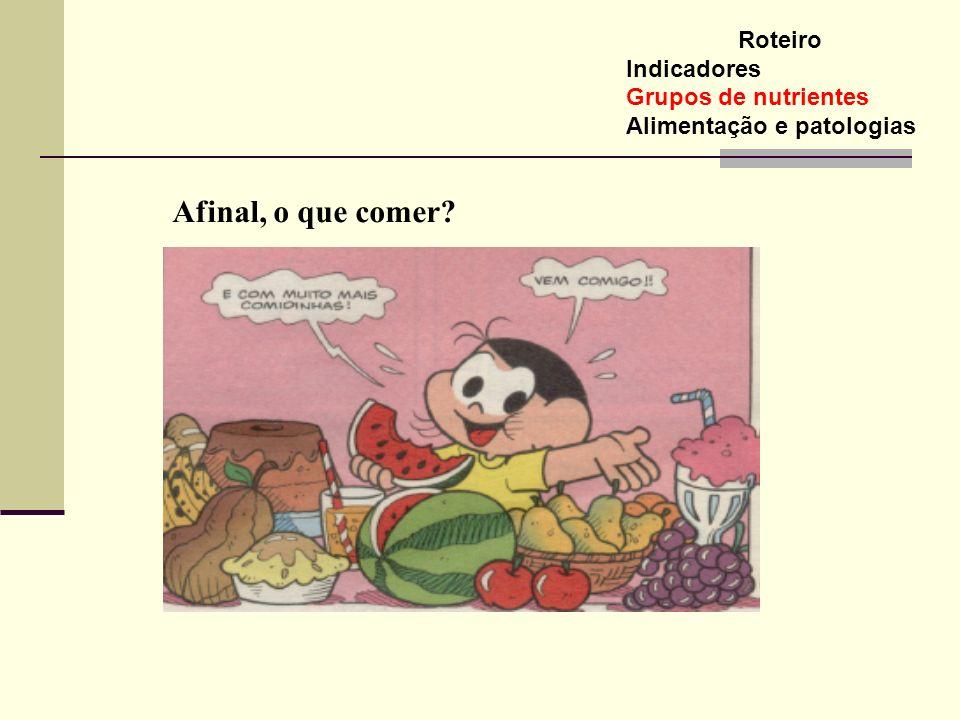 Roteiro Indicadores Grupos de nutrientes Alimentação e patologias Afinal, o que comer?