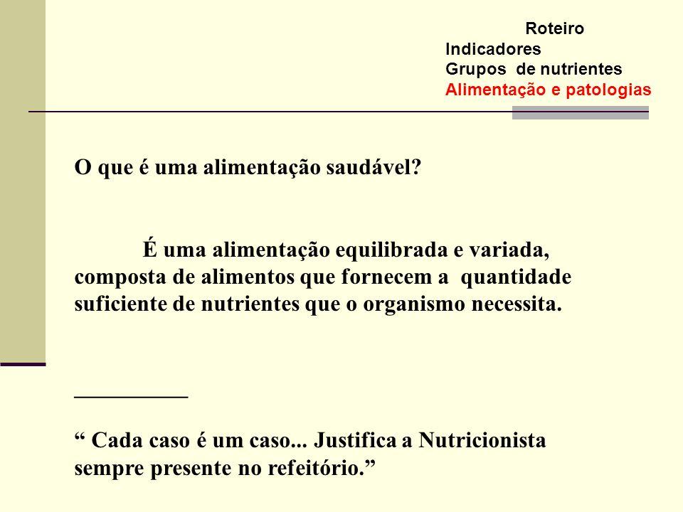 O que é uma alimentação saudável? É uma alimentação equilibrada e variada, composta de alimentos que fornecem a quantidade suficiente de nutrientes qu