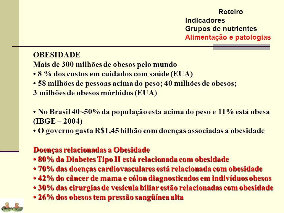 Roteiro Indicadores Grupos de nutrientes Alimentação e patologias OBESIDADE pelo mundo Mais de 300 milhões de obesos pelo mundo 8 % dos custos em cuid