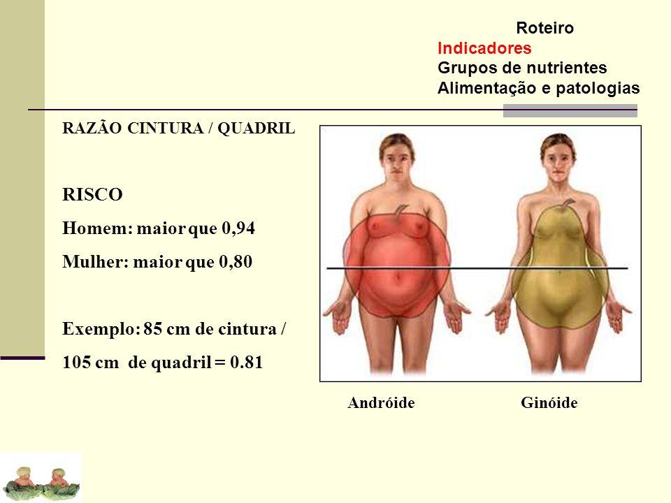 Roteiro Indicadores Grupos de nutrientes Alimentação e patologias RAZÃO CINTURA / QUADRIL RISCO Homem: maior que 0,94 Mulher: maior que 0,80 Exemplo: