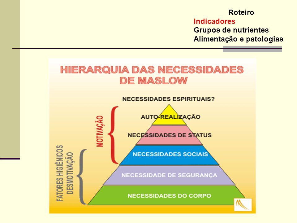 Roteiro Indicadores Grupos de nutrientes Alimentação e patologias OBESIDADE pelo mundo Mais de 300 milhões de obesos pelo mundo 8 % dos custos em cuidados com saúde (EUA) 8 % dos custos em cuidados com saúde (EUA) 58 milhões de pessoas acima do peso; 40 milhões de obesos; 58 milhões de pessoas acima do peso; 40 milhões de obesos; 3 milhões de obesos mórbidos (EUA) No Brasil 40~50% da população esta acima do peso e 11% está obesa No Brasil 40~50% da população esta acima do peso e 11% está obesa (IBGE – 2004) O governo gasta R$1,45 bilhão com doenças associadas a obesidade O governo gasta R$1,45 bilhão com doenças associadas a obesidade Doenças relacionadas a Obesidade 80% da Diabetes Tipo II está relacionada com obesidade 80% da Diabetes Tipo II está relacionada com obesidade 70% das doenças cardiovasculares está relacionada com obesidade 70% das doenças cardiovasculares está relacionada com obesidade 42% do câncer de mama e cólon diagnosticados em indivíduos obesos 42% do câncer de mama e cólon diagnosticados em indivíduos obesos 30% das cirurgias de vesícula biliar estão relacionadas com obesidade 30% das cirurgias de vesícula biliar estão relacionadas com obesidade 26% dos obesos tem pressão sangüínea alta 26% dos obesos tem pressão sangüínea alta