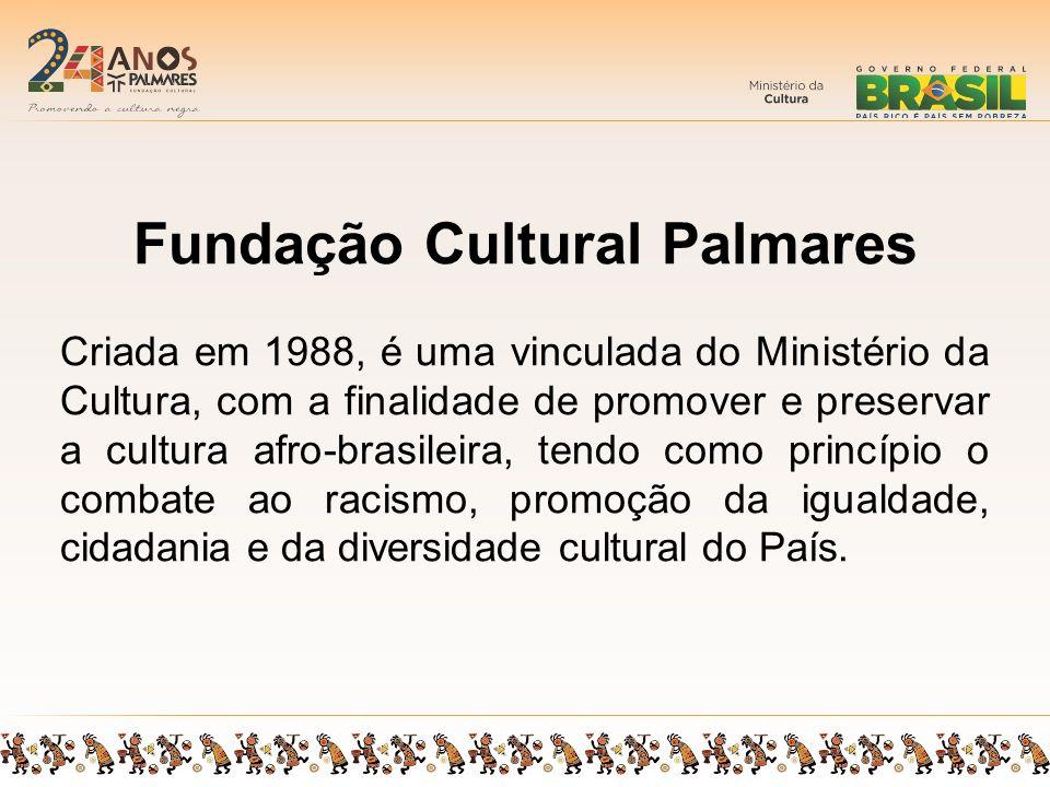 Fundação Cultural Palmares Criada em 1988, é uma vinculada do Ministério da Cultura, com a finalidade de promover e preservar a cultura afro-brasileira, tendo como princípio o combate ao racismo, promoção da igualdade, cidadania e da diversidade cultural do País.