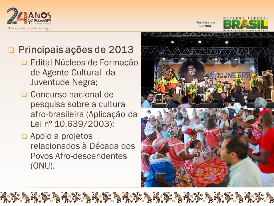 Principais ações de 2013 Edital Núcleos de Formação de Agente Cultural da Juventude Negra; Concurso nacional de pesquisa sobre a cultura afro-brasileira (Aplicação da Lei nº 10.639/2003); Apoio a projetos relacionados à Década dos Povos Afro-descendentes (ONU).