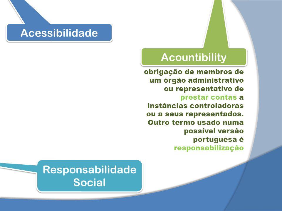Acessibilidade Acountibility Responsabilidade Social obrigação de membros de um órgão administrativo ou representativo de prestar contas a instâncias controladoras ou a seus representados.