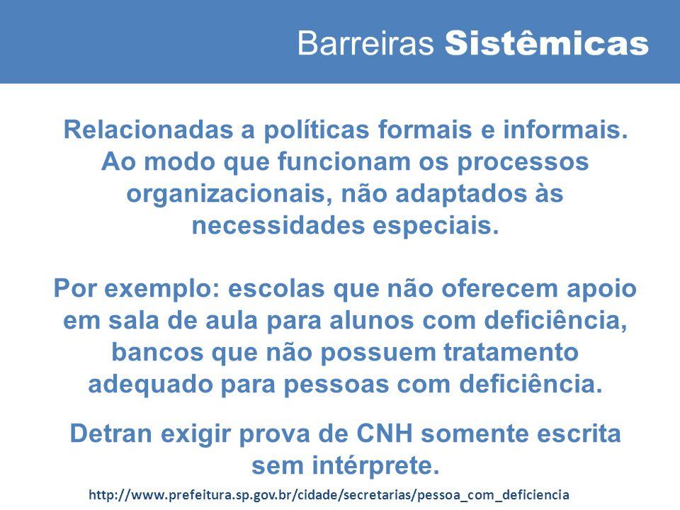 Barreiras Sistêmicas Relacionadas a políticas formais e informais.