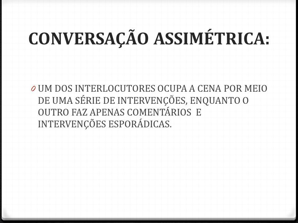 CONVERSAÇÃO ASSIMÉTRICA: 0 UM DOS INTERLOCUTORES OCUPA A CENA POR MEIO DE UMA SÉRIE DE INTERVENÇÕES, ENQUANTO O OUTRO FAZ APENAS COMENTÁRIOS E INTERVE