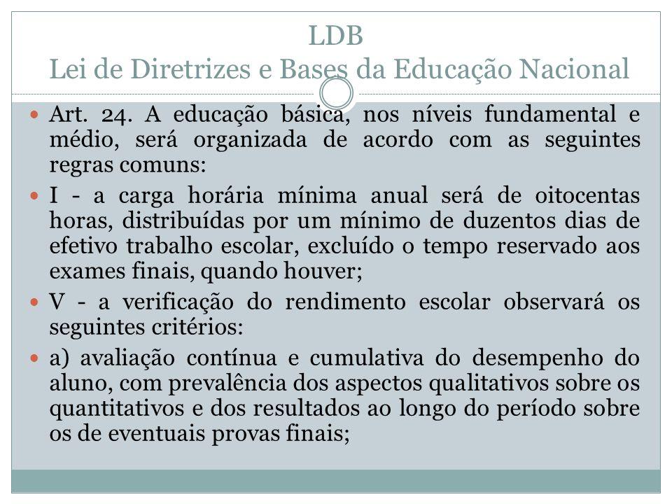 LDB Lei de Diretrizes e Bases da Educação Nacional Art. 24. A educação básica, nos níveis fundamental e médio, será organizada de acordo com as seguin