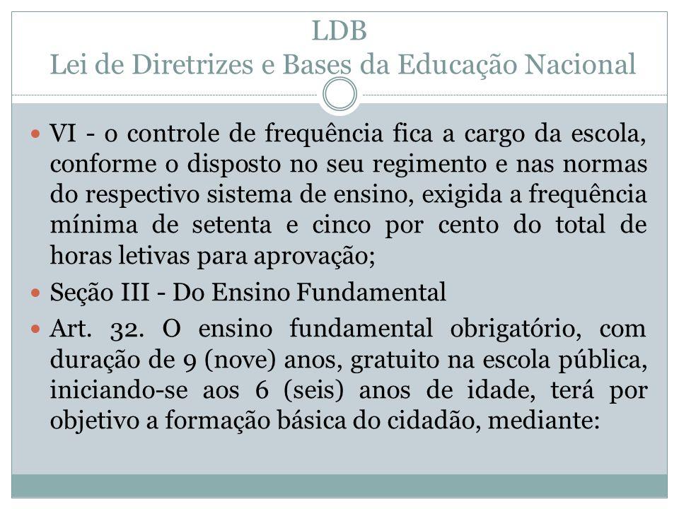 LDB Lei de Diretrizes e Bases da Educação Nacional VI - o controle de frequência fica a cargo da escola, conforme o disposto no seu regimento e nas no