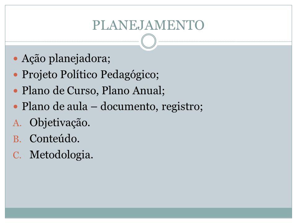 PLANEJAMENTO Ação planejadora; Projeto Político Pedagógico; Plano de Curso, Plano Anual; Plano de aula – documento, registro; A. Objetivação. B. Conte
