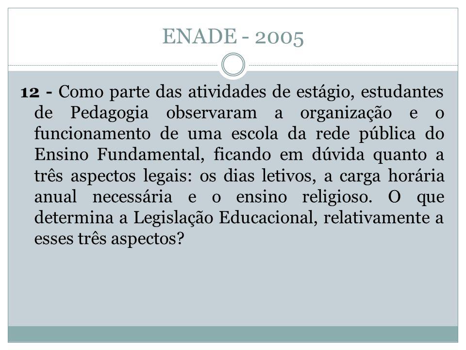 ENADE - 2005 12 - Como parte das atividades de estágio, estudantes de Pedagogia observaram a organização e o funcionamento de uma escola da rede públi