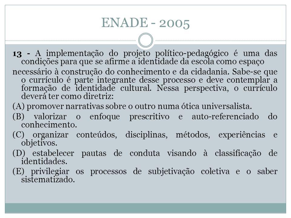 ENADE - 2005 13 - A implementação do projeto político-pedagógico é uma das condições para que se afirme a identidade da escola como espaço necessário