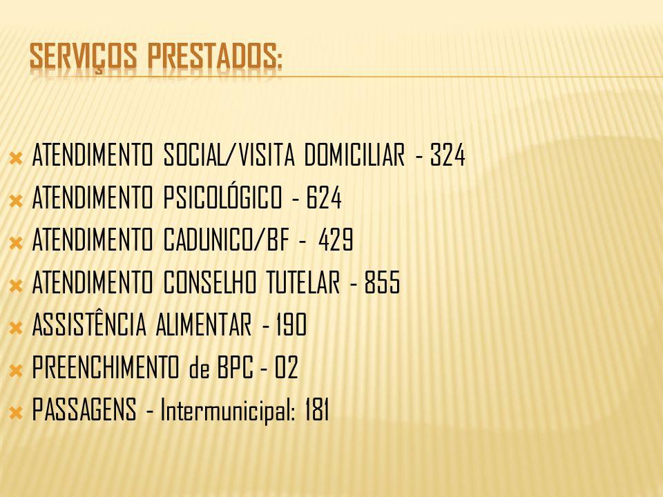 ATENDIMENTO SOCIAL/VISITA DOMICILIAR - 324 ATENDIMENTO PSICOLÓGICO - 624 ATENDIMENTO CADUNICO/BF - 429 ATENDIMENTO CONSELHO TUTELAR - 855 ASSISTÊNCIA ALIMENTAR - 190 PREENCHIMENTO de BPC - 02 PASSAGENS - Intermunicipal: 181