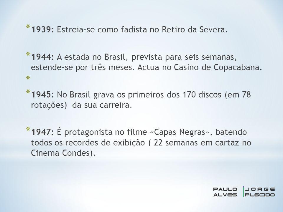 * 1939: Estreia-se como fadista no Retiro da Severa.