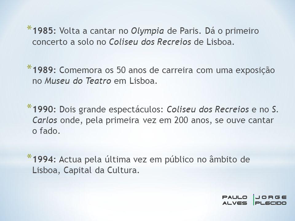 * 1985: Volta a cantar no Olympia de Paris.