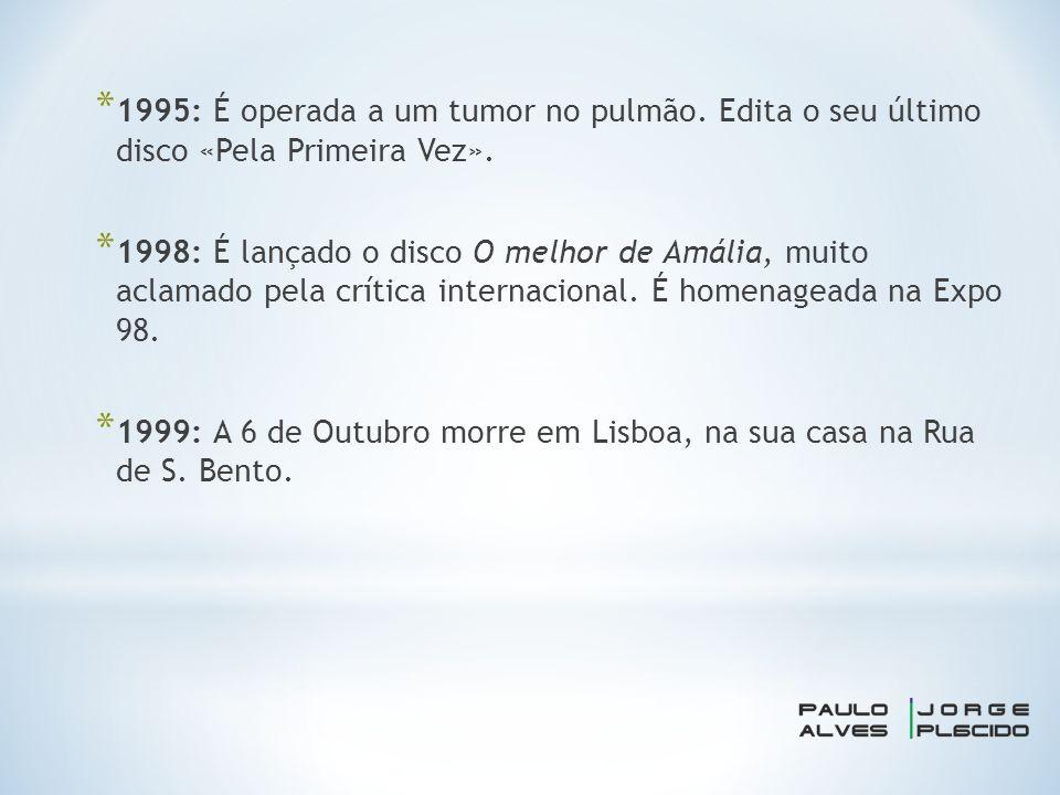 * 1995: É operada a um tumor no pulmão. Edita o seu último disco «Pela Primeira Vez».