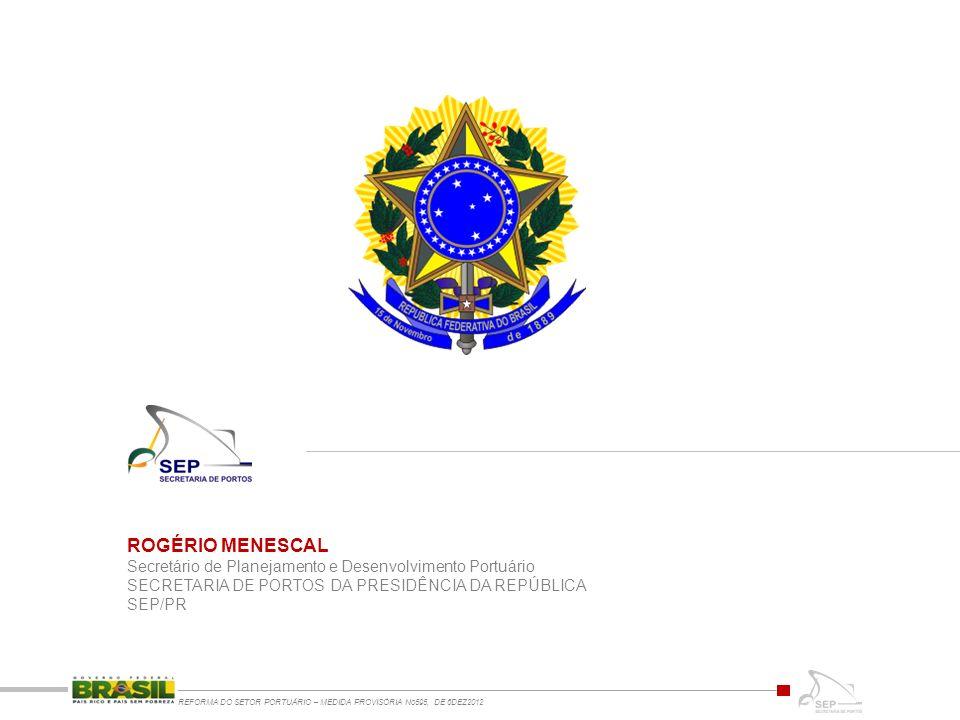 ROGÉRIO MENESCAL Secretário de Planejamento e Desenvolvimento Portuário SECRETARIA DE PORTOS DA PRESIDÊNCIA DA REPÚBLICA SEP/PR REFORMA DO SETOR PORTUÁRIO – MEDIDA PROVISÓRIA No595, DE 6DEZ2012