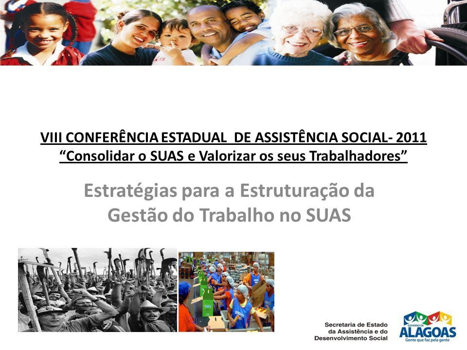 VIII CONFERÊNCIA ESTADUAL DE ASSISTÊNCIA SOCIAL- 2011 Consolidar o SUAS e Valorizar os seus Trabalhadores Estratégias para a Estruturação da Gestão do Trabalho no SUAS