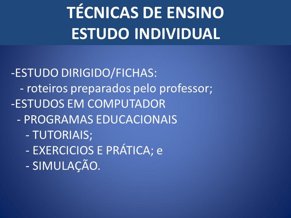 TÉCNICAS DE ENSINO ESTUDO INDIVIDUAL -ESTUDO DIRIGIDO/FICHAS: - roteiros preparados pelo professor; -ESTUDOS EM COMPUTADOR - PROGRAMAS EDUCACIONAIS -
